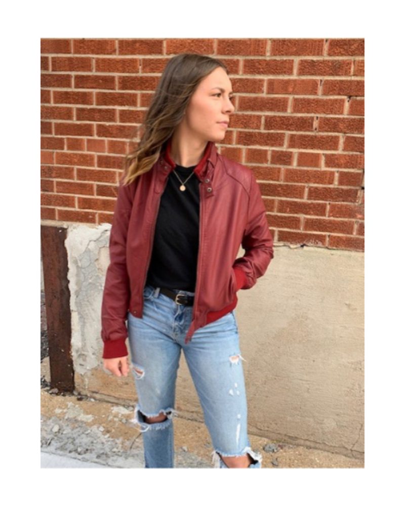 New Mix Faux Leather Zip Up Jacket w/Pockets
