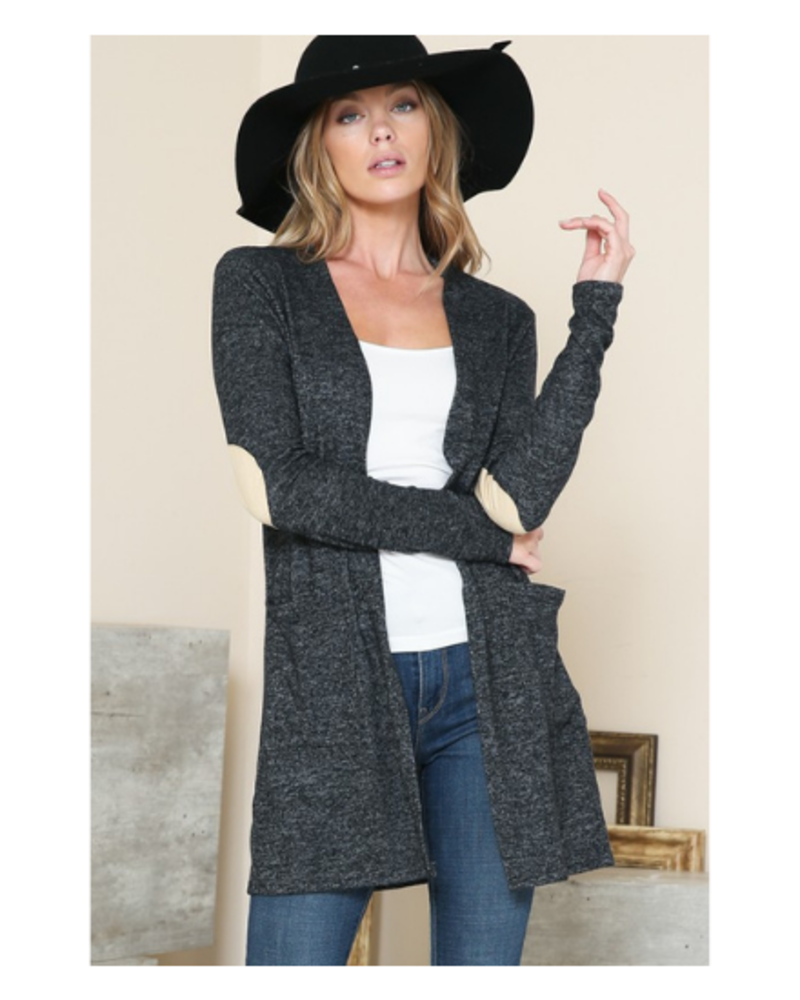 Magic Fit Midi Cardigan w/ Nude Elbow Patch