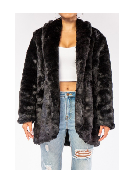 Rehab Lab Oversized Faux Fur Coat w/Pockets