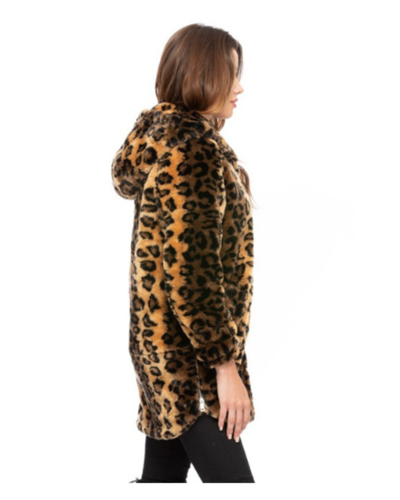 Coalition LA Hooded Faux Fur Zip Up Coat w/Pockets