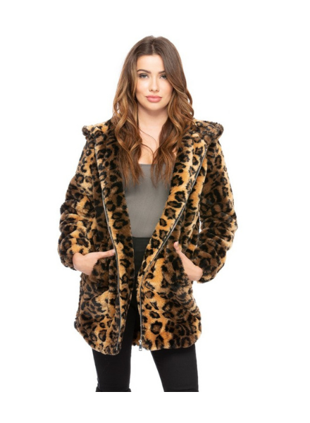 Coalition LA Hooded Faux Fur Zip Up Coat w/Pockets