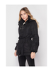 Love Tree Full Zip/Button Belted Puffer Coat w/Detachable Hood
