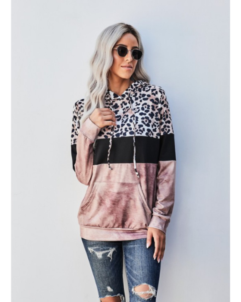 Shiying Fashion Color Block Leopard Print Hooded Top