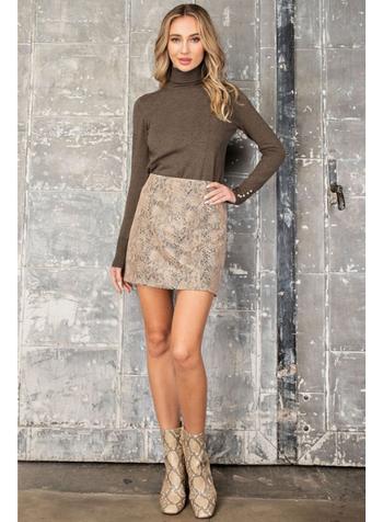 Ee:some Snakeskin Mini Skirt w/Back Zipper