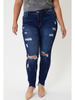KanCan Gemma Super High Rise Distressed Skinny w/Raw Hem