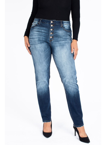 KanCan High Rise Skinny w/Button Front & Distressed Hem