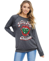 Zutter Holly Jolly Christmas Long Sleeve Graphic Top