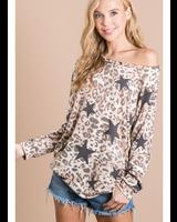 Bibi Round Neck Leopard/Star Print Long Sleeve Top