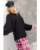 143 Story Ribbed Sweater w/Boat Neck & Dolman Sleeves