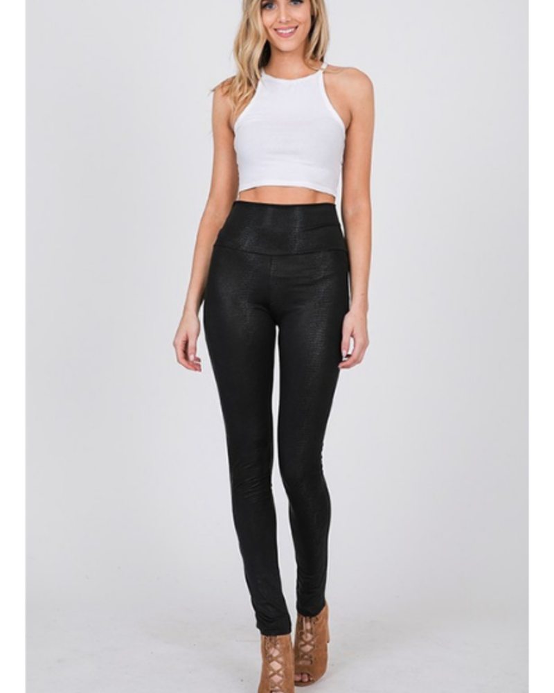 CY Fashion High Waist Textured Faux Leather Snakeskin Leggings