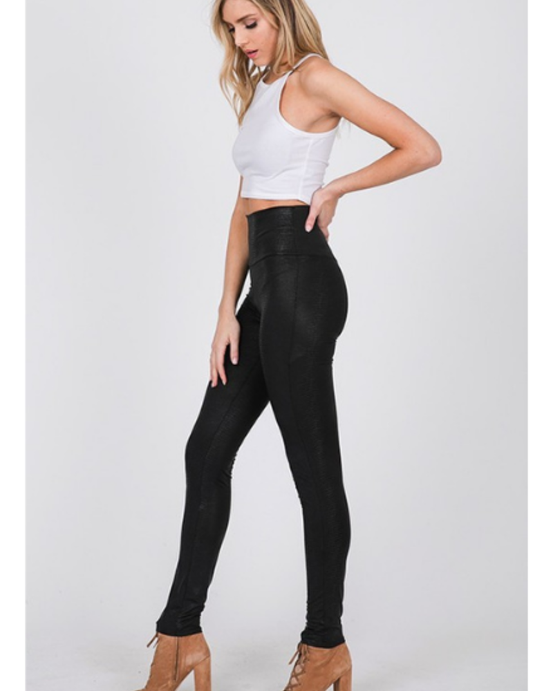 CY Fashion High Waist Textured Faux Leather Snakeskin Leggings