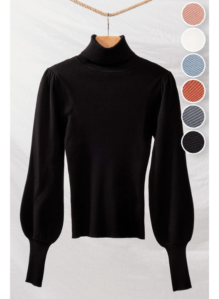 Love Tree Rib Knit Turtle Neck w/Long Puff Sleeves