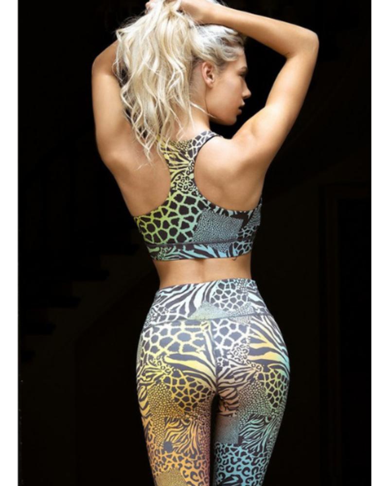 Yelete Active Safari Print Racerback Sports Bra w/High Neckline