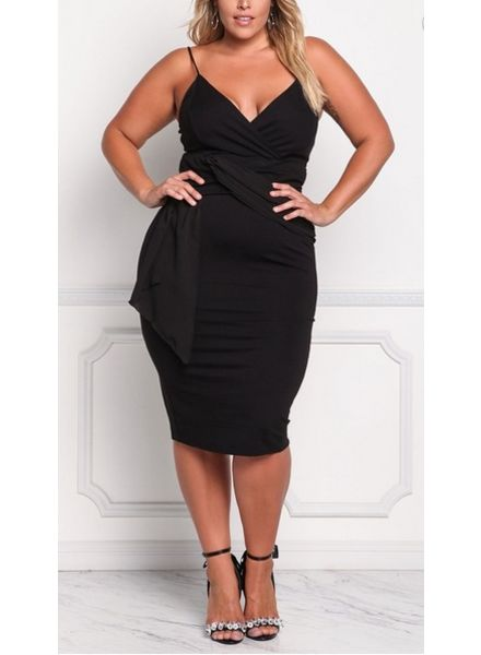 Full Figured Strappy Tummy Control Dress -