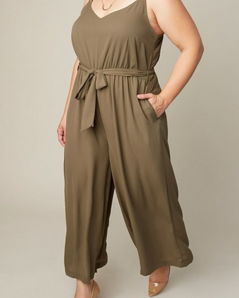 HAYDEN LOS ANGELES OLIVE SLEEVELESS JUMPER W/BELT F.FIGURED -