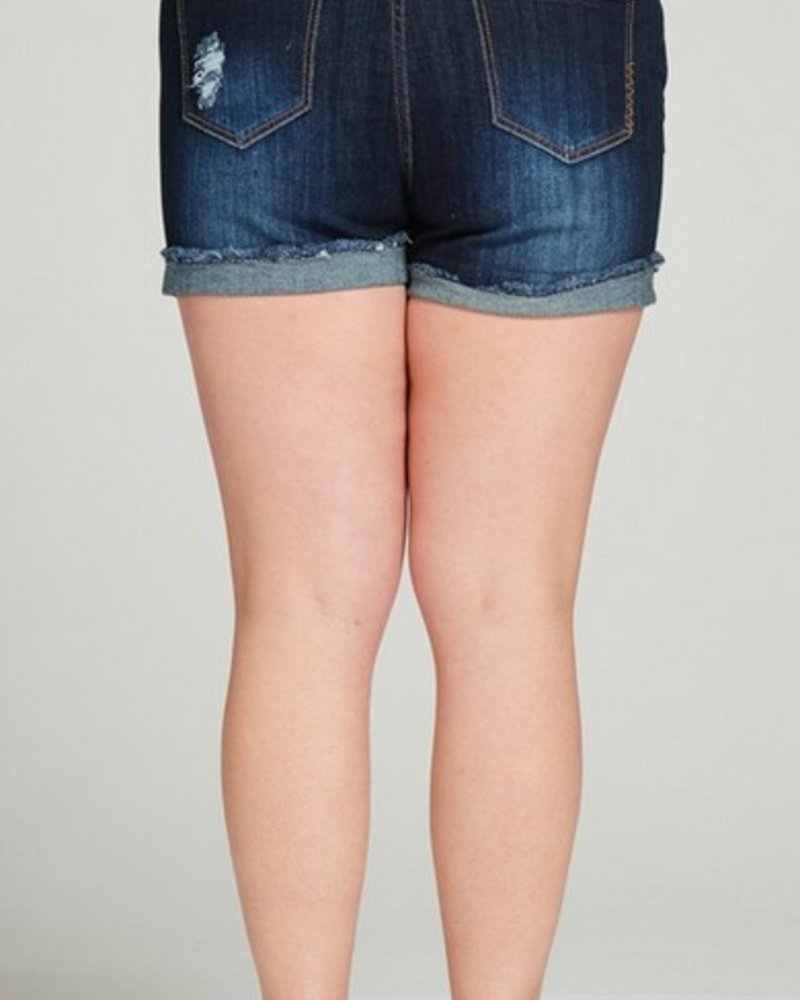 DARK DISTRESSED Full-Figured Shorts -