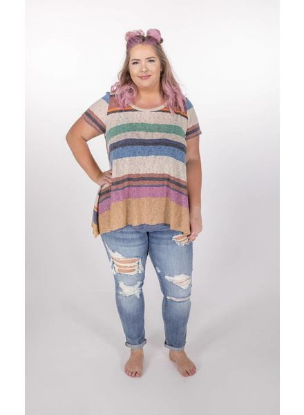 "Multi Neon Striped ""curvy"" Tee -"