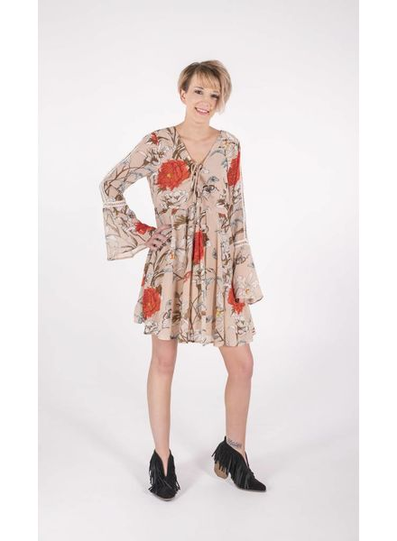 Umgee FLORAL BELL SLEEVE DRESS -