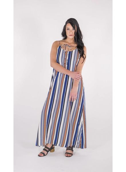 HAYDEN LOS ANGELES STRIPED NAVY/RUST MAXI DRESS  -