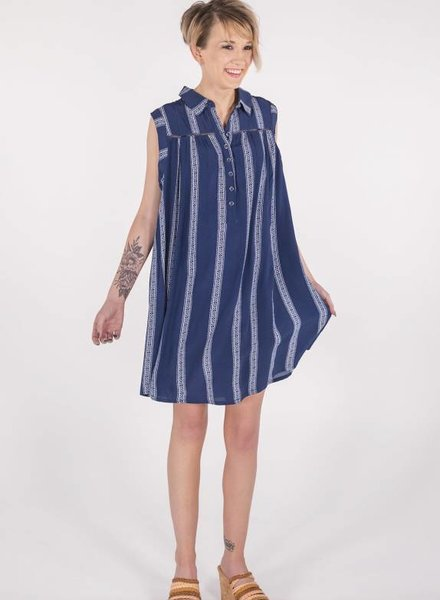 Miss Me Navy Button Down Sleeveless Dress -
