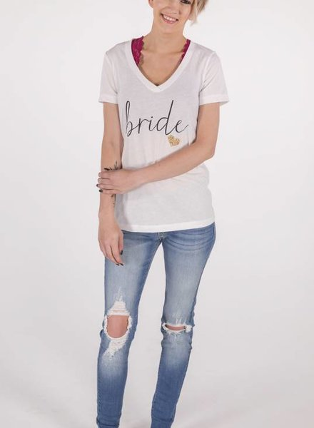 Bride Tee w/Gold Glitter Heart -