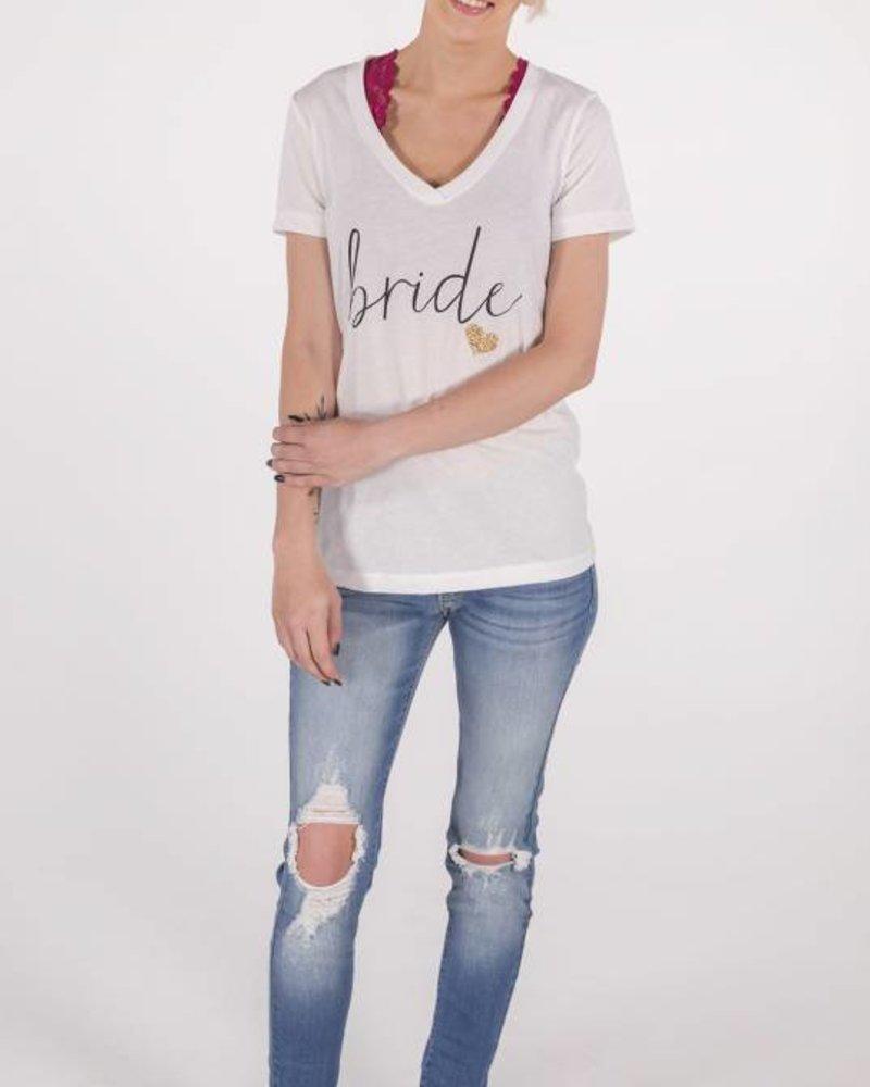 Bride Tee w/Gold Glitter Heart -