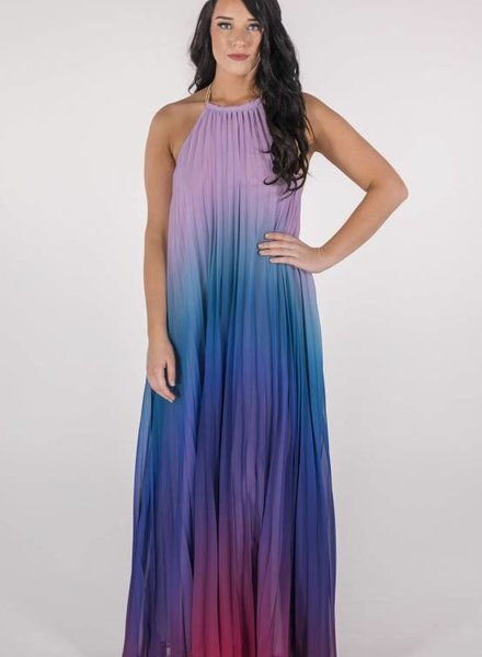 Blue Ombre' Trapeze Dress -