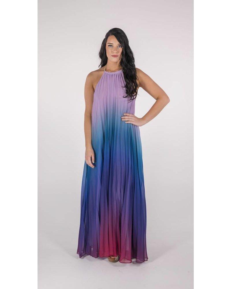 Blue Ombre' Trapeze Dress -