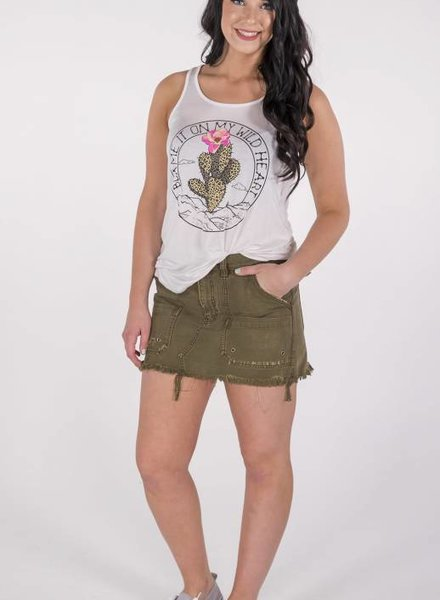 """Free People Canvas Relaxed Mini Skirt """"Moss"""" -"""