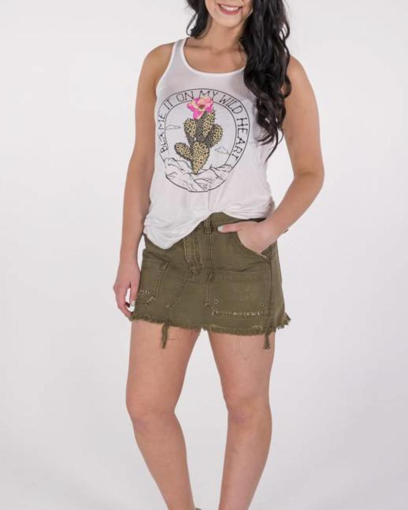 "Free People Canvas Relaxed Mini Skirt ""Moss"" -"