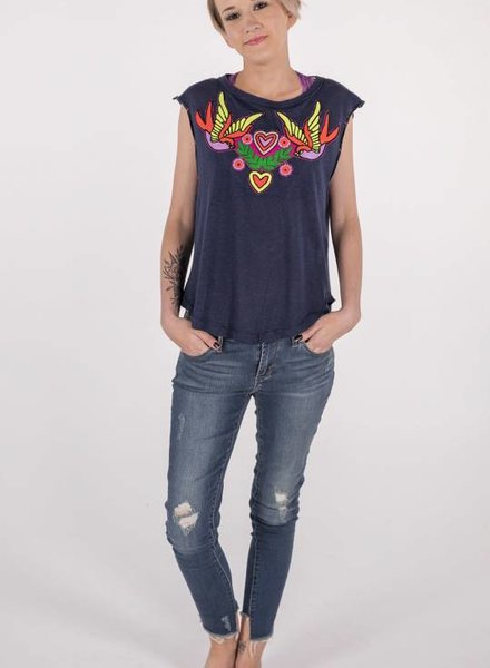 "Free People Love Birds Tee ""navy""  -"