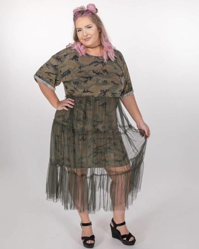 HAYDEN LOS ANGELES CAMO T-SHIRT DRESS W/TULLE SKIRT  -