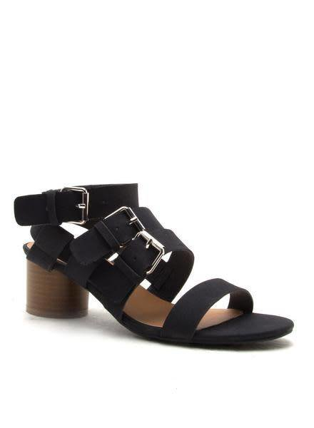 Lucille Black Strappy Buckle Sandal  -