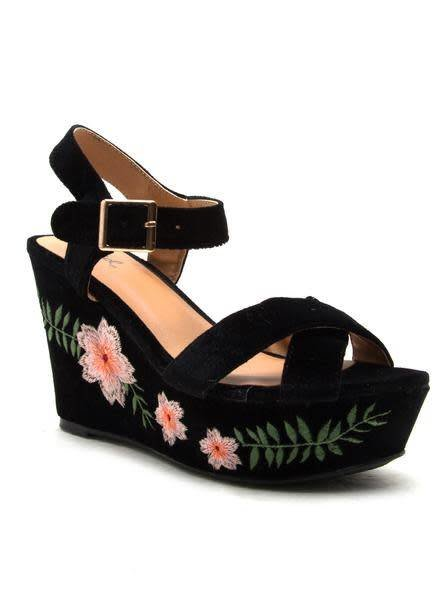 Ardor- Black Velvet Floral Wedge -
