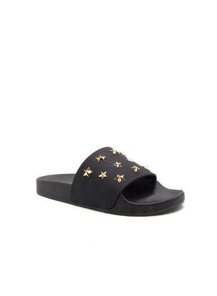 Black Matte Star Studded Slide -