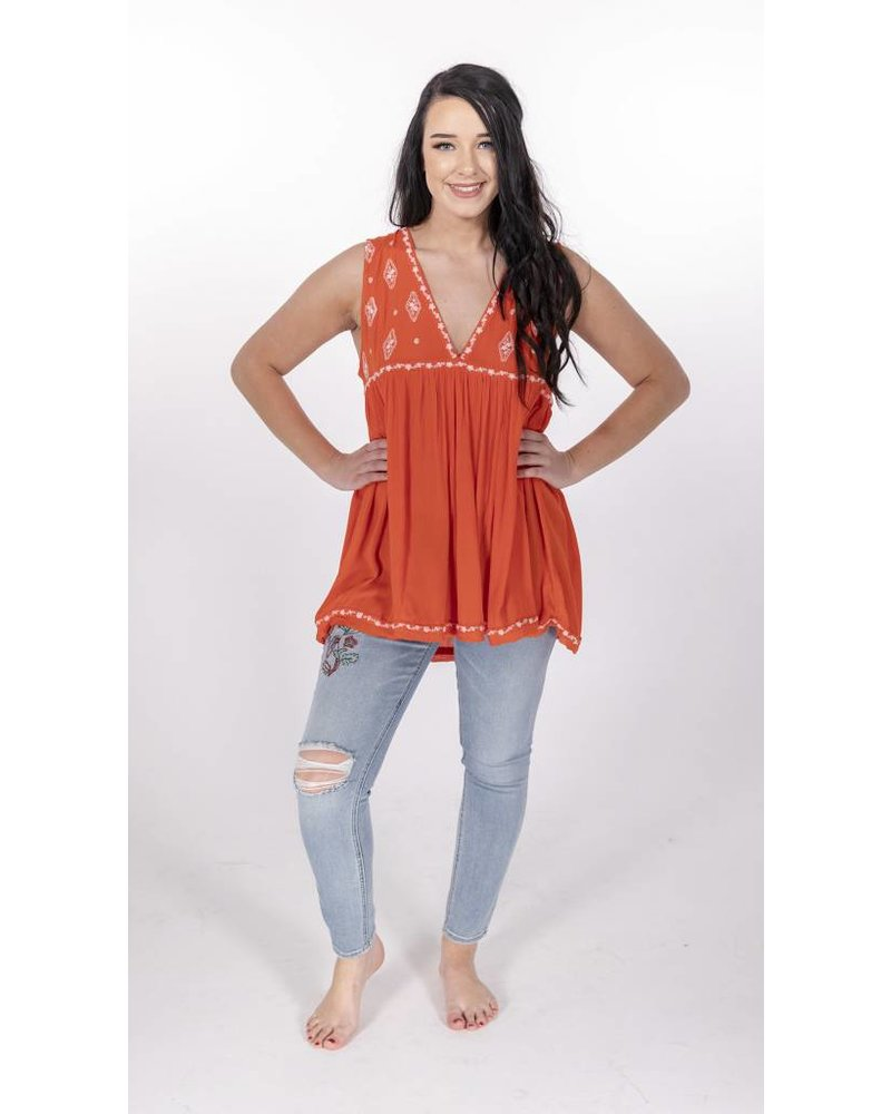 "Free People Sleeveless Diamond Embroidered ""RED"" -"