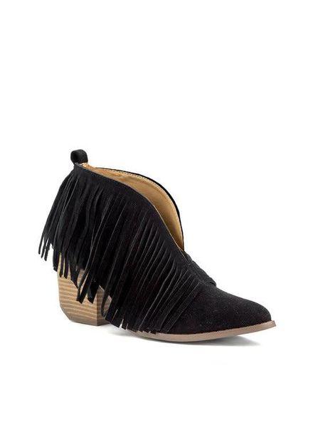 Black Open Arch Fringe Bootie W/ Short Heel