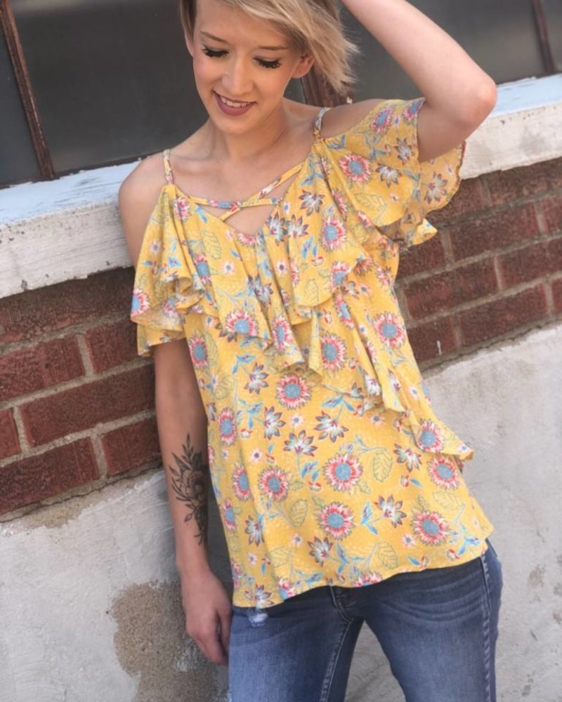 Miss Me Open Shoulder Miss Daisy Top -