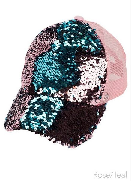 C.C MAGIC SEQUIN MESSY BUN BASEBALL CAP
