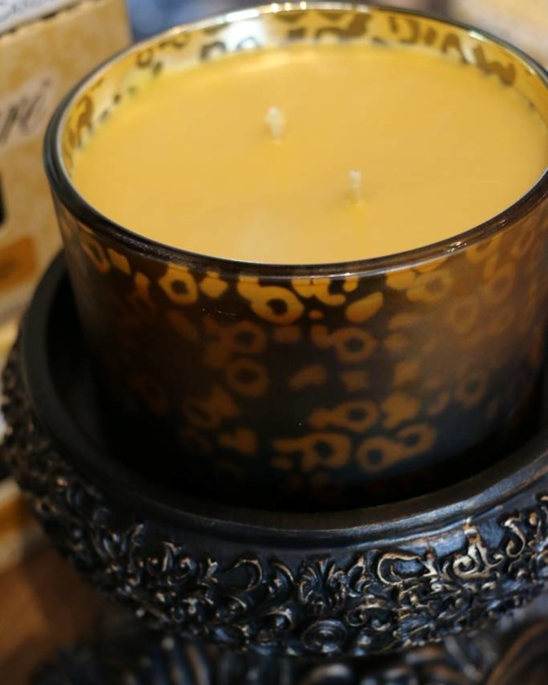 16 oz Twentyfoursevenglam Stature Muted Gold Leopard Candle