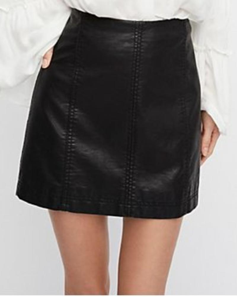 Free People Free People Black Modern Femme Vegan Mini Skirt