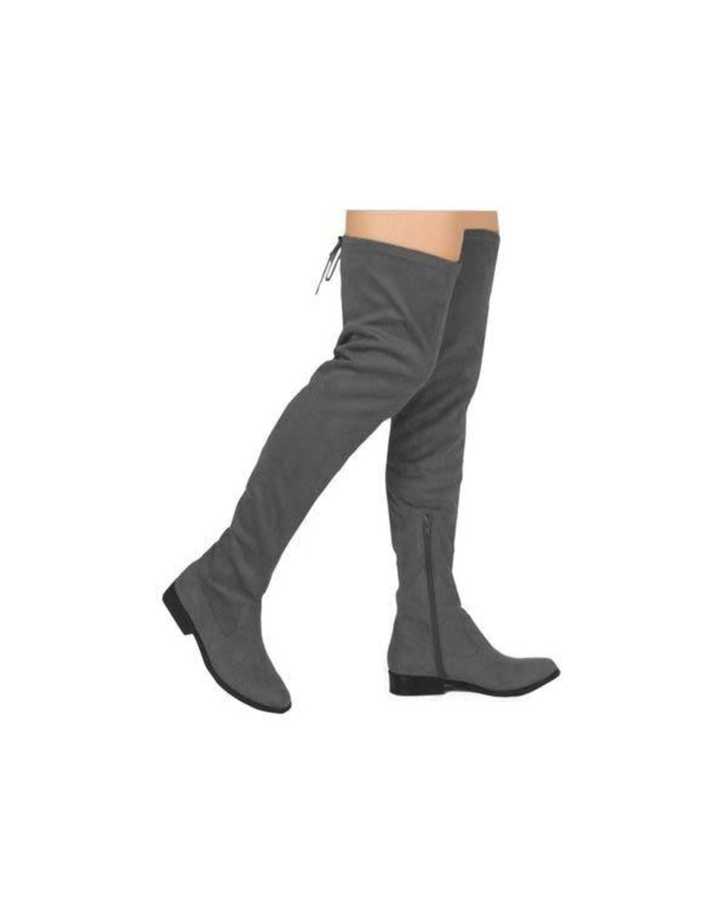 Vinci Over the Knee Charcoal Suede Boot