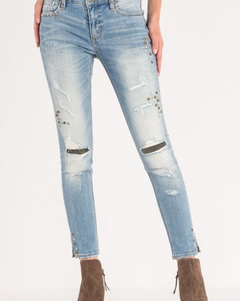 Miss Me Mid-Rise Light Wash Studded Skinny Miss Me Skinny -