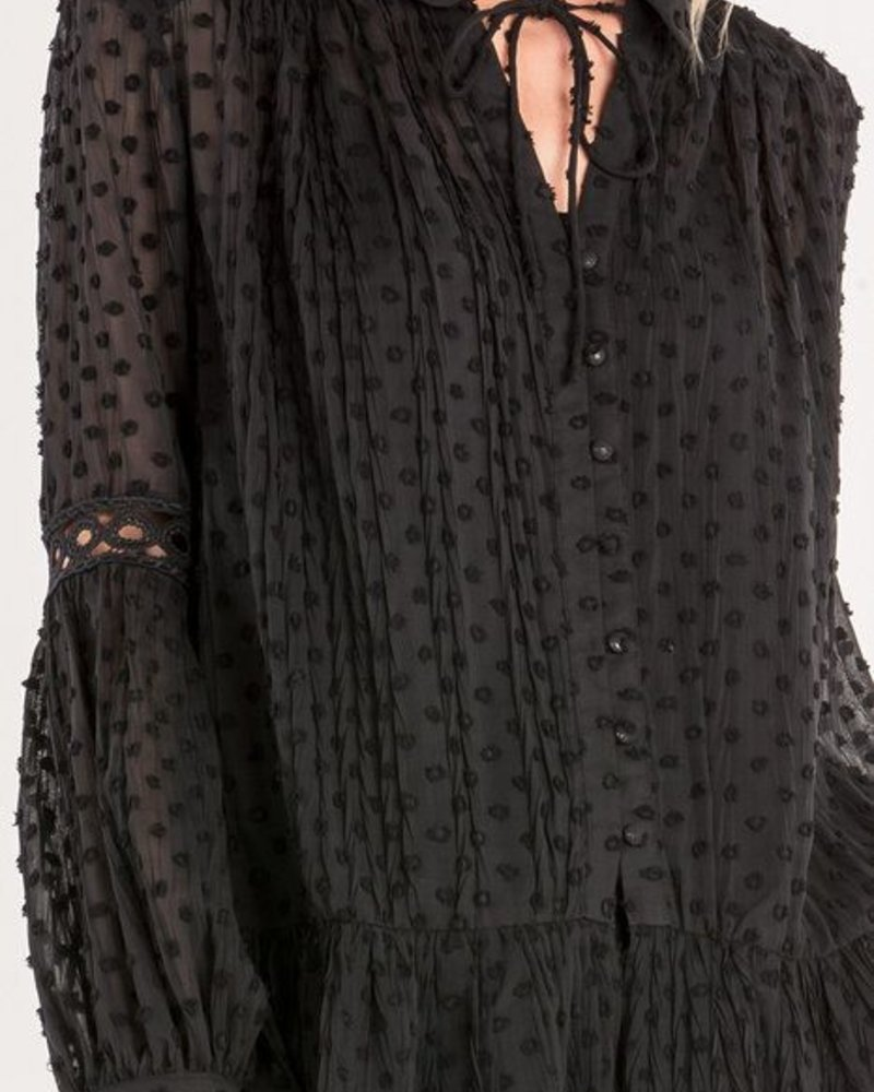 Miss Me Black Jacquard Dot Top - Miss Me