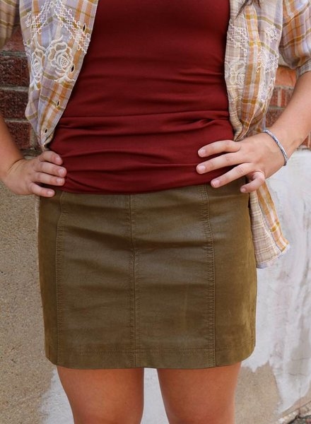 Free People Modern Femme VEGAN SUEDE CEDAR SKIRT - FRE PEOPLE -