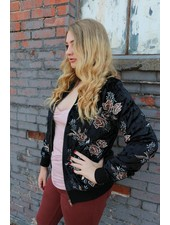 Miss Me Floral Embroidered Crushed Velvet Bomber Jacket