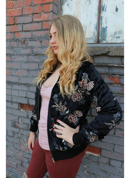 Miss Me Floral Embroidered Crushed Velvet Bomber Jacket