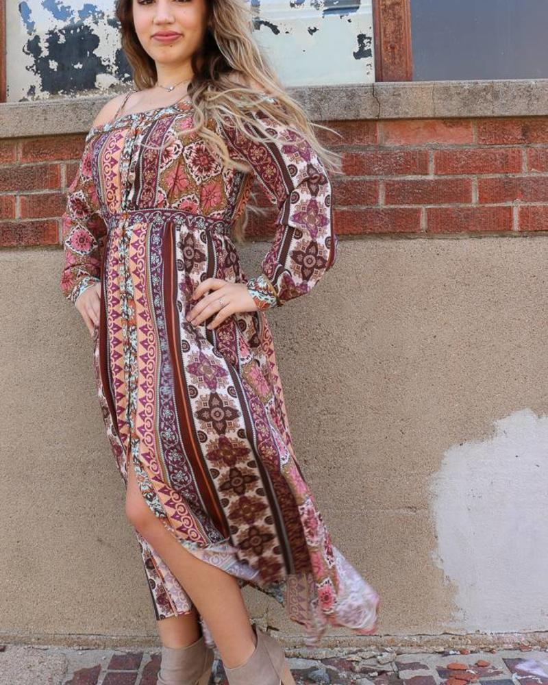 Miss Me Miss Me Printed Cold Shoulder Long Sleeve Midi Dress