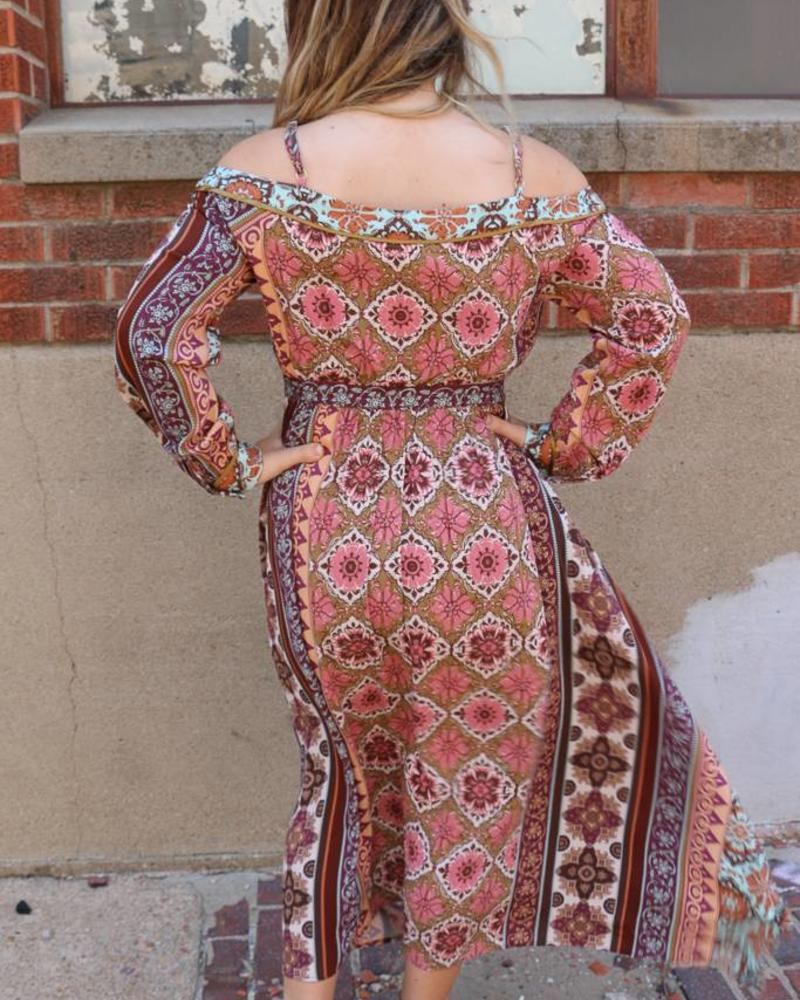 Miss Me Miss Me Printed Cold Shoulder Long Sleeve Midi Dress