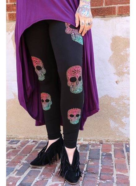 Vocal Leggings - Rhinestone Sugar Skull Leggings